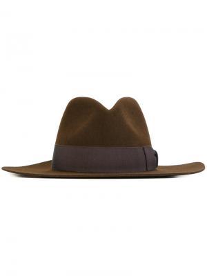 Классическая фетровая шляпа Saint Laurent. Цвет: коричневый