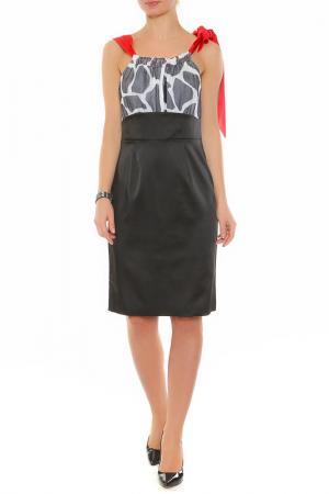 Платье XS MILANO. Цвет: черный, красный пояс