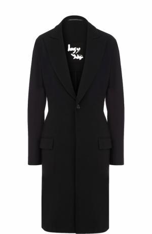 Приталенное шерстяное пальто Yohji Yamamoto. Цвет: черный