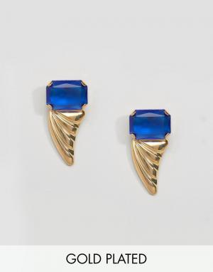Gogo Philip Позолоченные серьги с камнями. Цвет: золотой