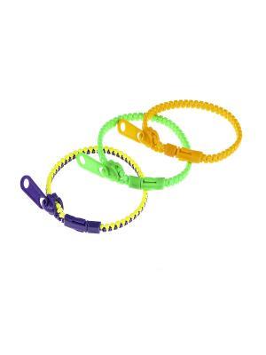 Браслет (3 шт.) Happy Charms Family. Цвет: оранжевый, желтый, зеленый, фиолетовый