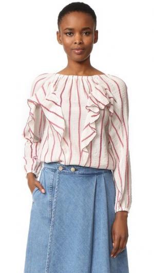 Блуза с оборками в полоску Intropia. Цвет: красный