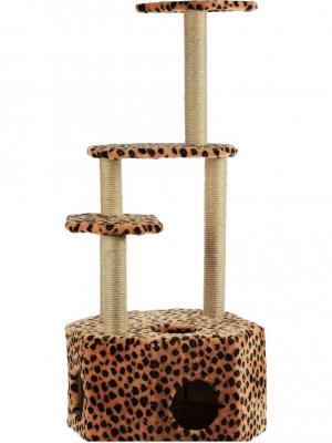 Домик меховой для кошки Doggy Style. Цвет: темно-коричневый, оранжевый