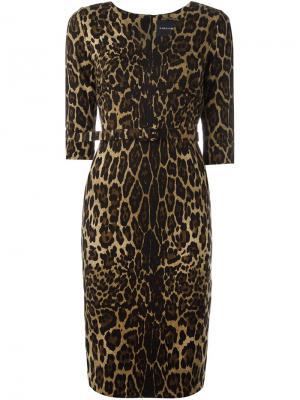 Платье с леопардовым принтом Samantha Sung. Цвет: коричневый