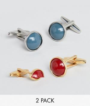 DesignB London 2 пары запонок красного / синего цвета эксклюзивно для ASOS. Цвет: мульти