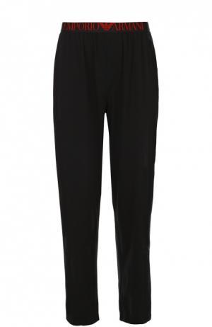 Хлопковые брюки на широкой резинке Emporio Armani. Цвет: черный