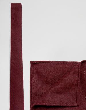 ASOS Набор из фактурного галстука и платка для нагрудного кармана бордового. Цвет: красный
