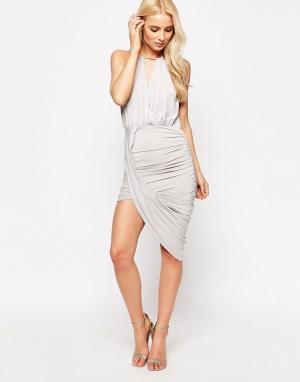 Sistaglam Асимметричное платье Cheryl. Цвет: серый