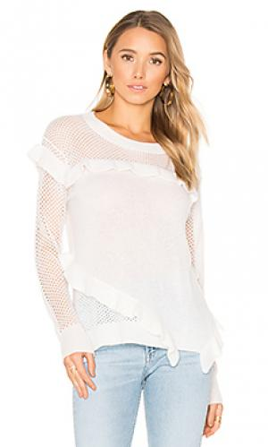 Ruffle crew neck sweater White + Warren. Цвет: белый