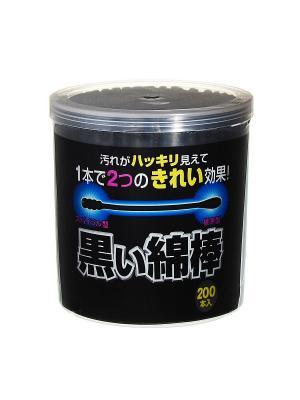 Ватные палочки черные с аппликаторами двух видов Cotton Labo 200шт Marusan. Цвет: черный