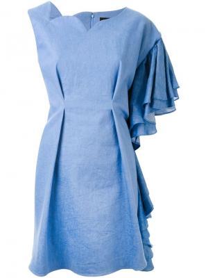 Платье асимметричного кроя DressCamp. Цвет: синий