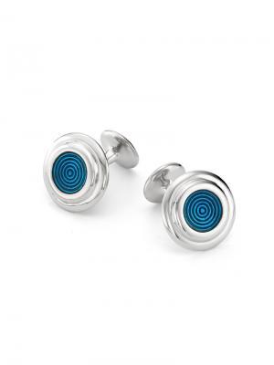 Мужские запонки Геометрия KU&KU. Цвет: синий, серебристый