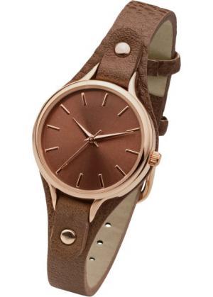 Часы на узком браслете (коньячный/розово-золотистый) bonprix. Цвет: коньячный/розово-золотистый