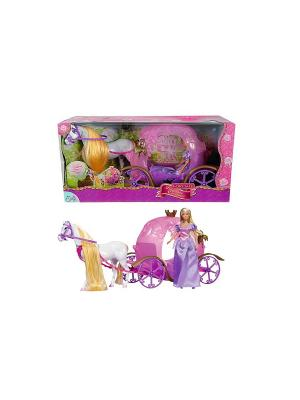 Штеффи и ее сказочная карета, 29см/67см, 1/4 Simba. Цвет: белый, розовый