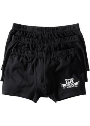 Черные боксеры-брифы (3 шт.) (черный/серебристо-серый) bonprix. Цвет: черный/серебристо-серый