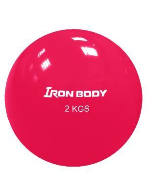 Медбол, 2 кг Iron Body. Цвет: малиновый