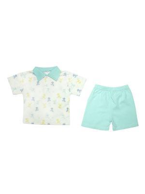 Комплект для мальчика:батник и шорты ДИНО ОСЬМИНОЖКА. Цвет: светло-голубой, молочный