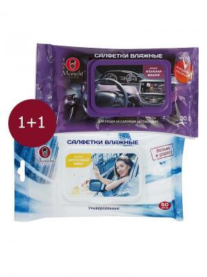 Авто набор KN1110 Салфетки влажные для автомобиля, 50 шт + салона, 30 Maneki. Цвет: белый