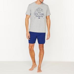 Пижама с шортами двухцветная из хлопкового джерси La Redoute Collections. Цвет: серый меланж + синий
