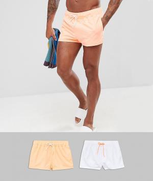 ASOS 2 шорт для плавания (белый/ярко-оранжевый). Цвет: мульти