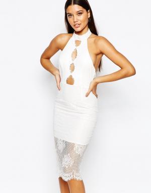 Love Triangle Платье миди с высокой горловиной и кружевной отделкой. Цвет: белый