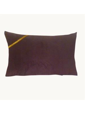 Декоративная подушка Коричневая земля  с золотой тесьмой LACCOM. Цвет: коричневый