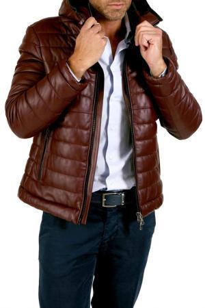 Кожаная куртка AD MILANO. Цвет: коричневый
