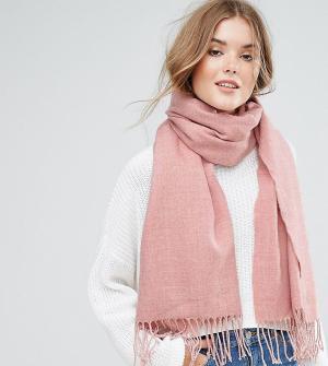 Stitch & Pieces Длинный шарф с кисточками. Цвет: розовый