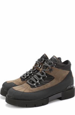 Комбинированные ботинки на шнуровке O.X.S.. Цвет: черный