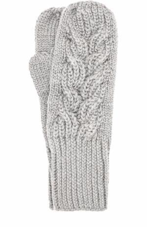 Шерстяные варежки фактурной вязки Karakoram accessories. Цвет: серый