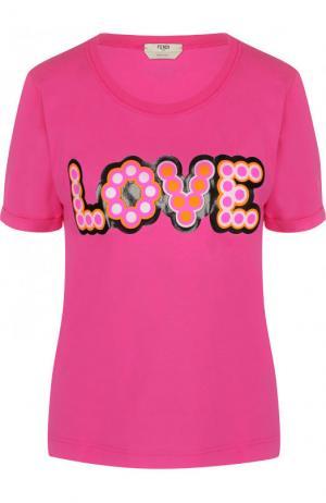 Хлопковая футболка с контрастной надписью Fendi. Цвет: розовый