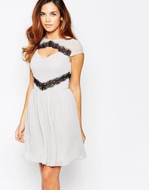 Elise Ryan Короткое приталенное платье с контрастным кружевом. Цвет: серый