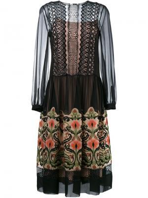 Прозраное платье с цветочной вышивкой Alberta Ferretti. Цвет: чёрный