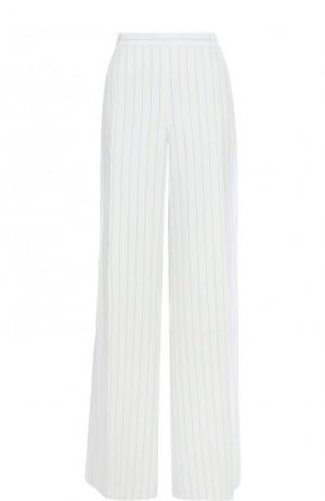 Льняные расклешенные брюки в полоску Ralph Lauren. Цвет: белый