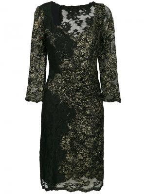 Кружевное платье с V-образным вырезом Olvi´S. Цвет: чёрный