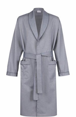 Хлопковый халат с поясом и шалевым воротником Zimmerli. Цвет: голубой