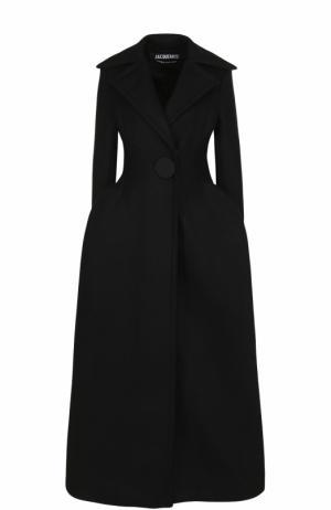 Приталенное удлиненное пальто из шерсти Jacquemus. Цвет: черный