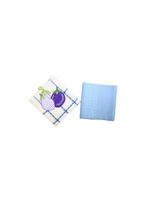 Набор полотенец Овощи-Фрукты из 2-х шт. 45*70 Bonita, вафельных BONITA. Цвет: белый, голубой