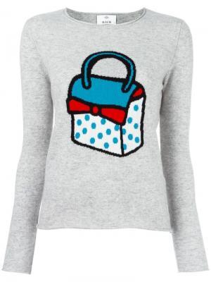 Джемпер с принтом-интарсией сумки Allude. Цвет: серый