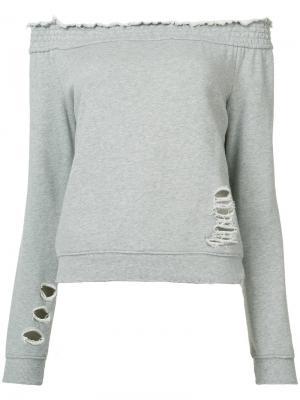 Блуза со спущенными рукавами Pam & Gela. Цвет: серый