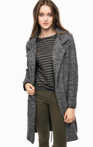 Вязаное пальто с лацканами Kocca. Цвет: серый