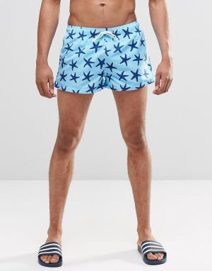 Swells Короткие шорты с принтом морская звезда. Цвет: синий