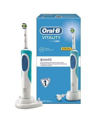 Электрическая аккумуляторная зубная щетка Oral-B Vitality 3D White ORAL_B. Цвет: светло-голубой