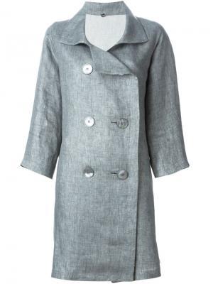 Двубортное пальто N_8. Цвет: серый