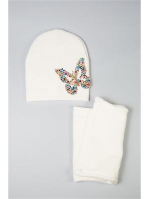 Комплект шапка и снуд Mitya Veselkov. Цвет: белый