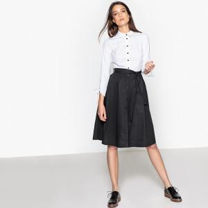 Платье-рубашка двухцветное, с поясом, из хлопка La Redoute Collections. Цвет: черный/ белый