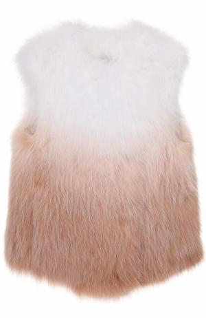 Жилет из меха лисы с эффектом деграде Yves Salomon. Цвет: светло-розовый