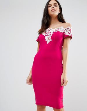 Paper Dolls Платье с аппликацией. Цвет: розовый