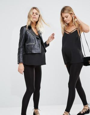 New Look Maternity 2 пары бесшовных леггинсов для беременных. Цвет: черный