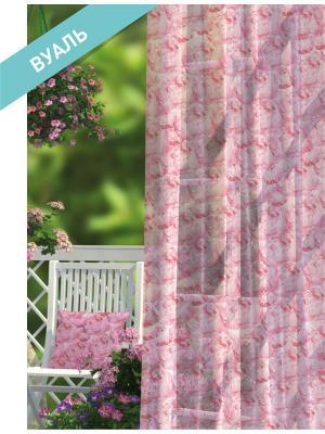 Комплект штор (2 шт.) Волшебная ночь, 150см*270см, ткань-Вуаль,  стиль-ПРОВАНС, ROSE ночь. Цвет: белый, зеленый, розовый